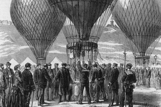Gambetta in Balloon. Date: 7 October 1870